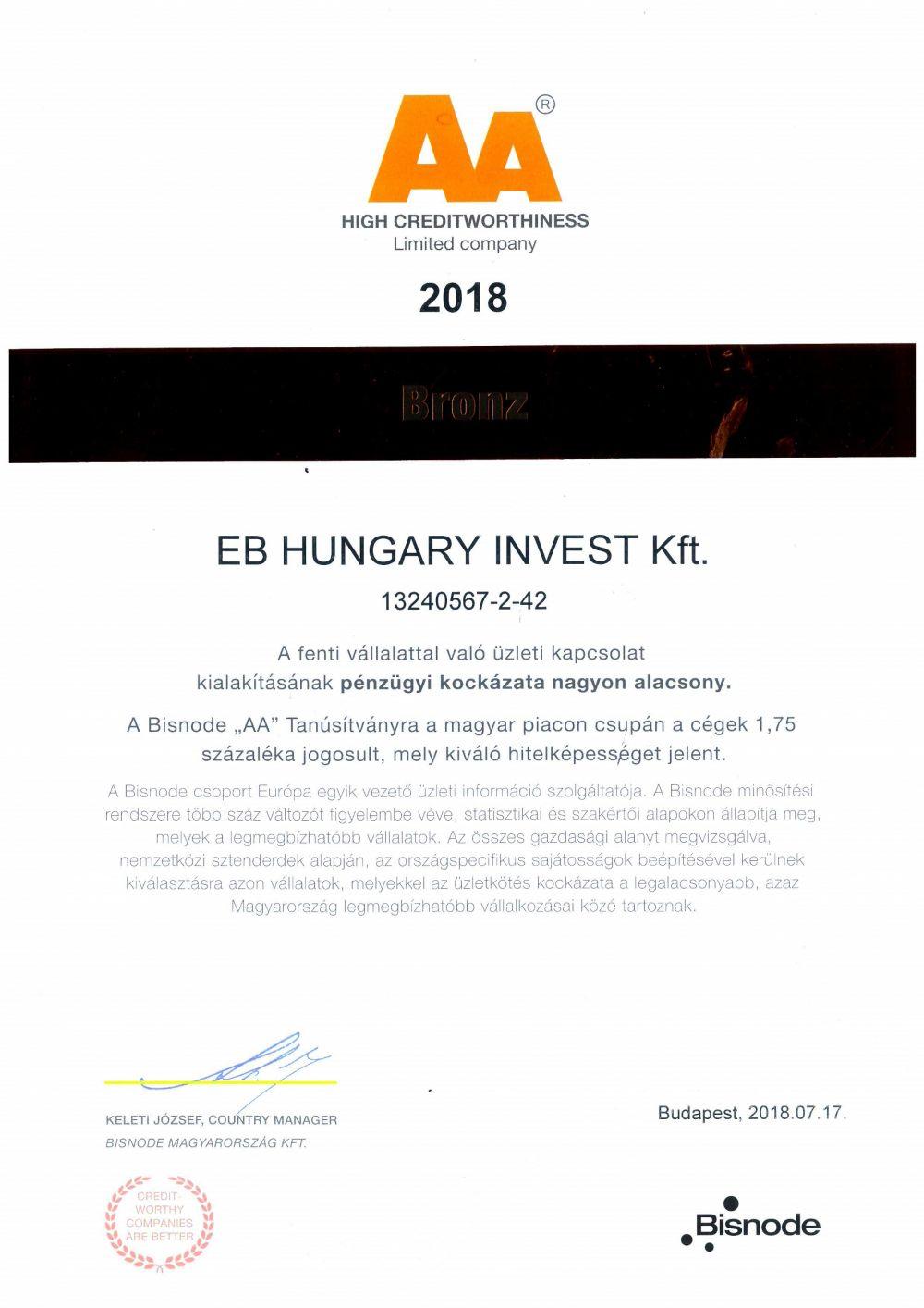 """Bisnode Tanúsítvány """"AA"""" Oklevél-EB HUNGARY INVEST Kft. 2018."""