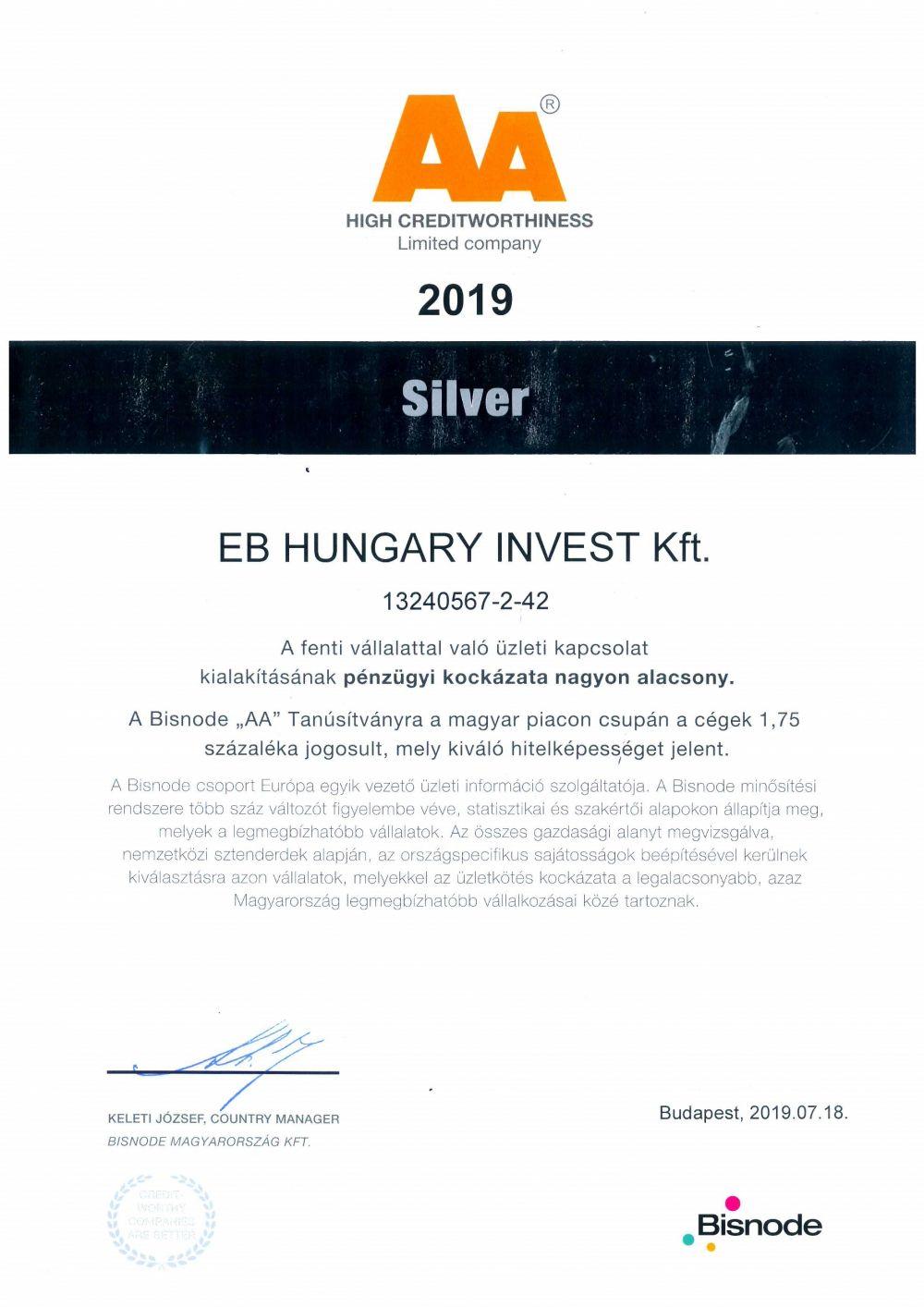 """Bisnode Tanúsítvány """"AA"""" Oklevél-EB HUNGARY INVEST Kft. 2019."""