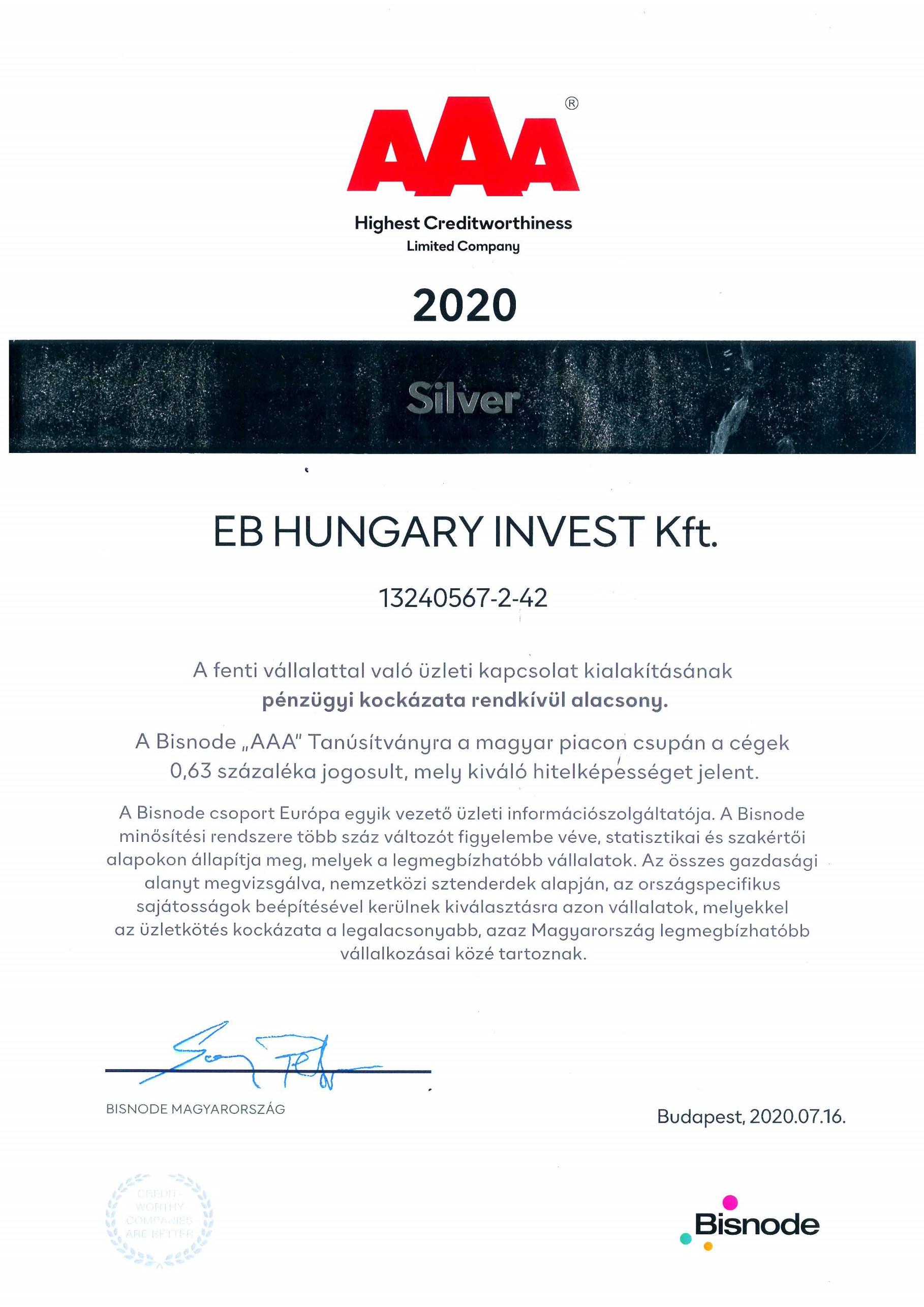 "Bisnode Tanúsítvány ""AAA"" Oklevél-EB HUNGARY INVEST Kft. 2020."