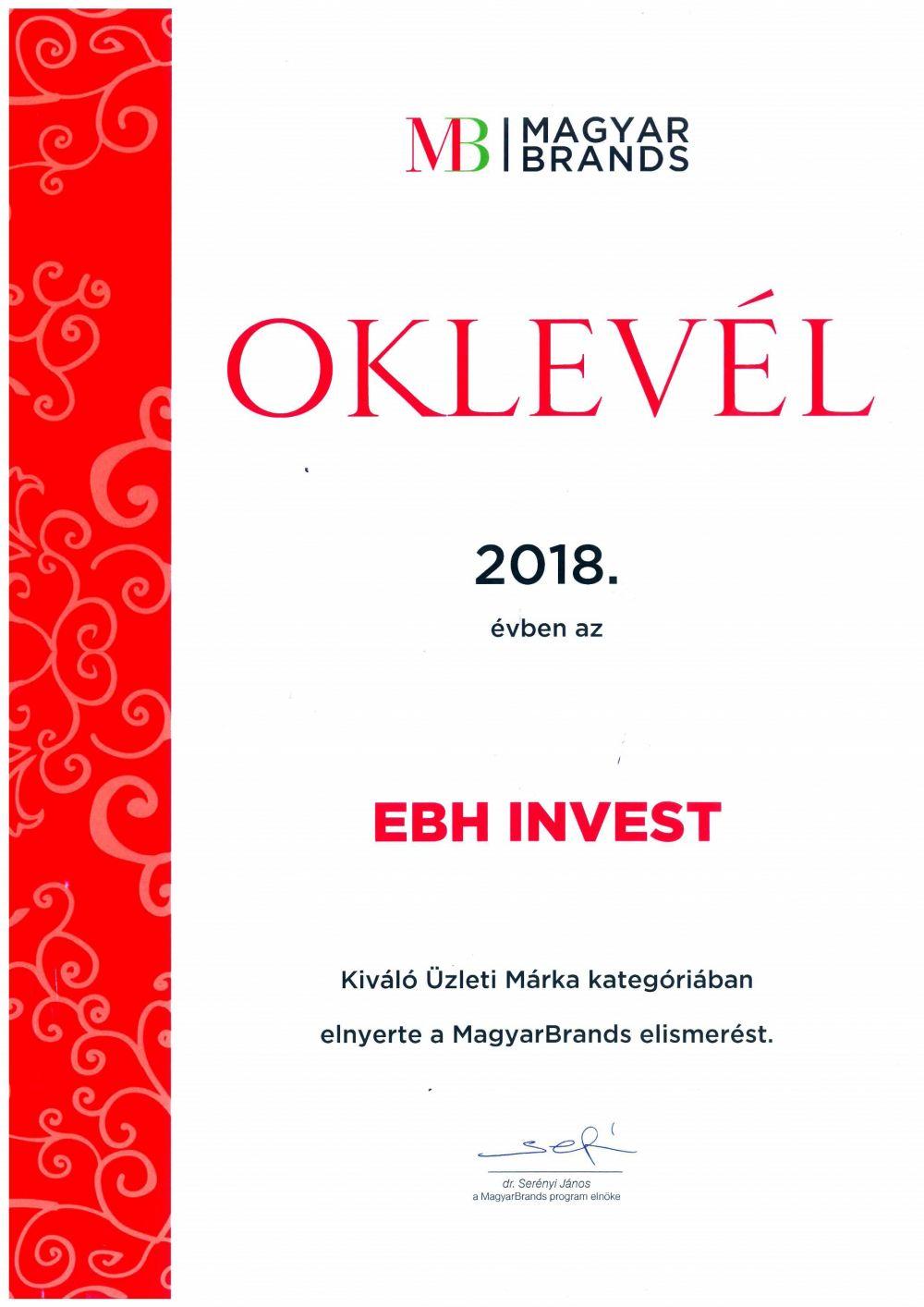 Az EB HUNGARY INVEST Kft. immár kétszeres díjazott a MagyarBrands üzleti kategóriában.